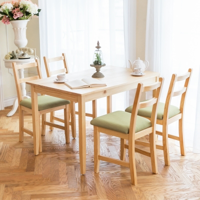 CiS自然行實木家具- 北歐實木餐桌椅組一桌四椅 74*118公分/原木+抹茶綠椅墊