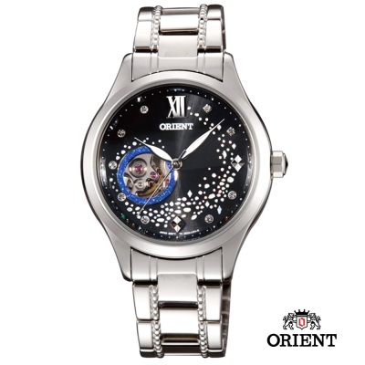 ORIENT 東方錶 HAPPY STREAM系列 藍月奇蹟鏤空機械女錶-黑/36mm