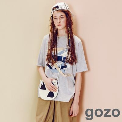 gozo-率性刷漆拼布T恤-共2色