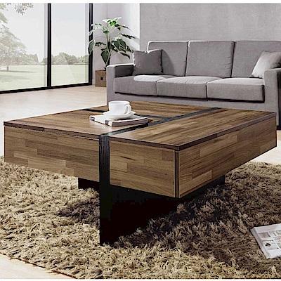 品家居 多奇3尺木紋三抽大茶几-90x90x43.5cm免組