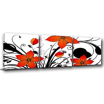 24mama掛畫-三聯式方形 掛畫無框畫 花朵朵 50x50cm