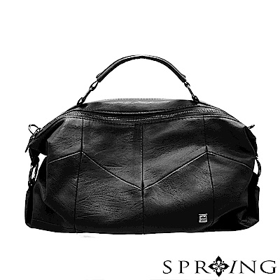 SPRING-誘人潘朵拉柔軟真皮側背包-極品黑