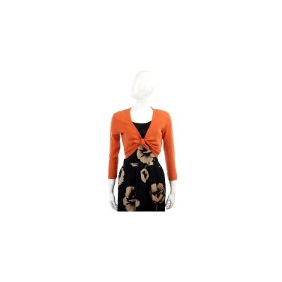 Kristina Ti 橘色花邊綁帶設計小外套