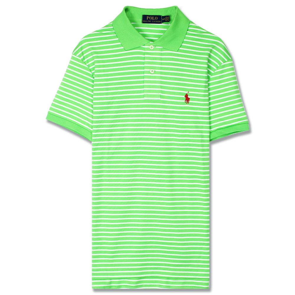Ralph Lauren 小馬透氣純棉細條紋POLO衫(亮綠)