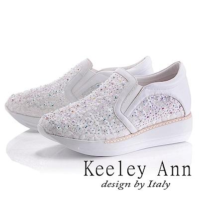Keeley Ann 簡約美感~亮澤水鑽透膚網紗真皮軟墊休閒鞋(白色-Asin系列)