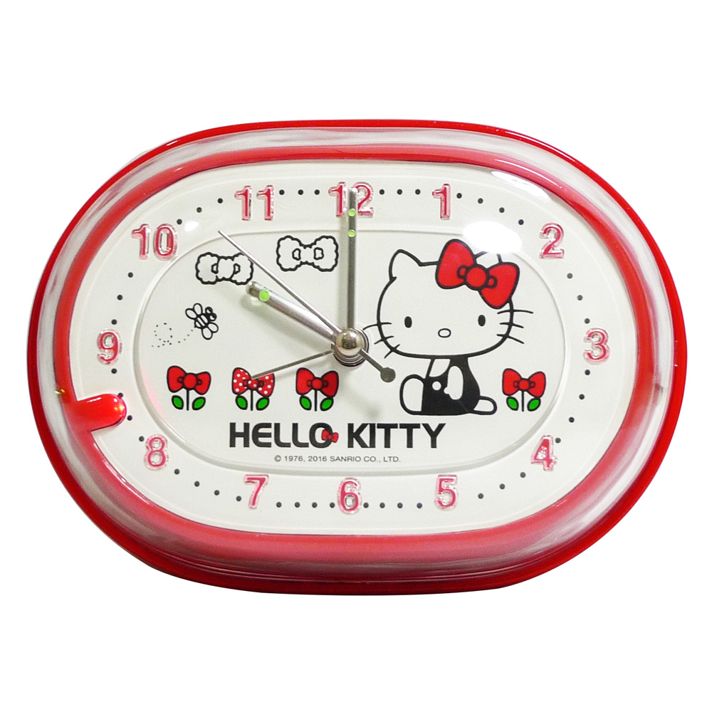 Hello Kitty甜美蝴蝶結超靜音貪睡鬧鐘 JM-2949