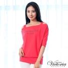 Victoria 挖肩設計LOGO七分袖T-女-橘紅