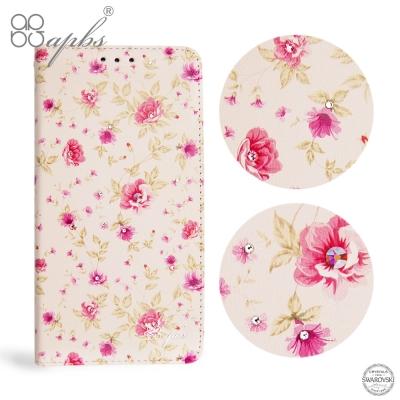 apbs APPLE iPhone X 施華洛世奇水晶鑽皮套-月季花