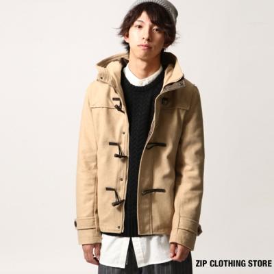 短版羊毛牛角釦外套 ZIP日本男裝