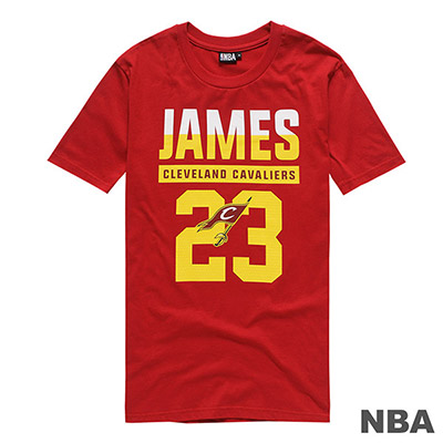 NBA-LeBron James騎士隊印花短T-深紅