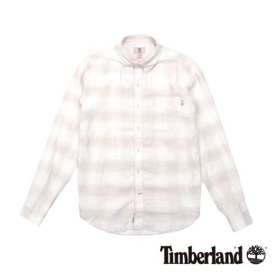 Timberland 男款淺灰褐色亞麻漸變格紋長袖襯衫