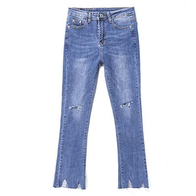 裁剪褲管九分喇叭牛仔褲(藍色)-Kugi Girl
