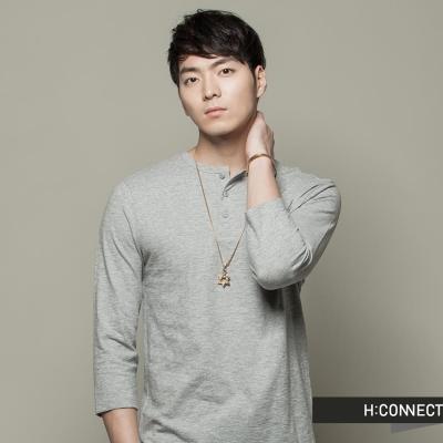 H:CONNECT 韓國品牌 男裝 - 亨利純色七分上衣 - 灰(快)
