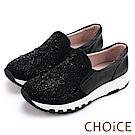 CHOiCE 華麗運動風 牛皮絨布星星水鑽厚底休閒鞋-黑色