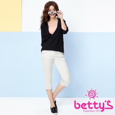 betty-s貝蒂思-腰部設計層次口袋七分褲-淺卡