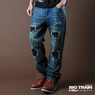 BIG TRAIN-街頭割破印字垮褲-中藍