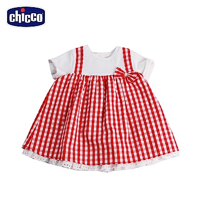 chicco-野餐-裝飾吊帶格紋洋裝-白(12-24個月)