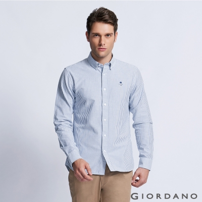 GIORDANO 男裝純棉修身刺繡圖案長袖襯衫 - 05 深藍/白直條紋