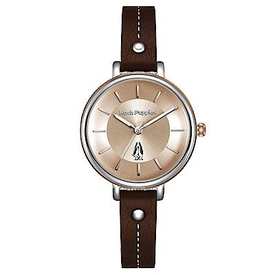 Hush Puppies 環型刻紋經典皮革女性手錶(HP3868)-玫瑰金/33mm
