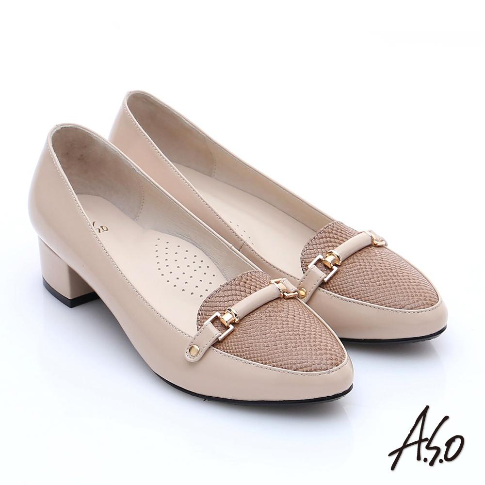 A.S.O 優雅美型 壓紋真皮飾釦樂福中跟鞋 卡其色