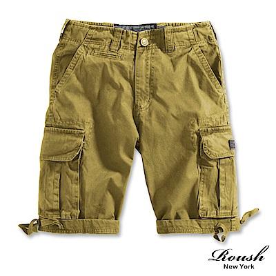 ROUSH 黑色皮標高磅數雙口袋水洗短褲(6色)