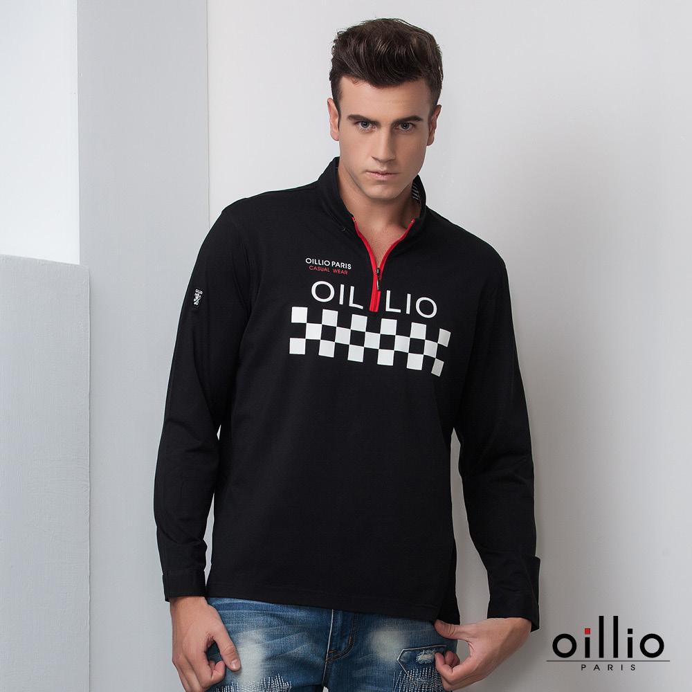 歐洲貴族oillio 長袖POLO衫 方程式方格 品牌印花 黑色