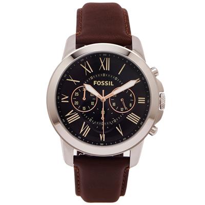 FOSSIL  羅馬優雅風計時的皮帶手錶(FS4813)-黑色面X咖啡色/44mm