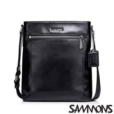 SAMMONS-真皮丹尼爾輕薄斜背包-尊爵黑