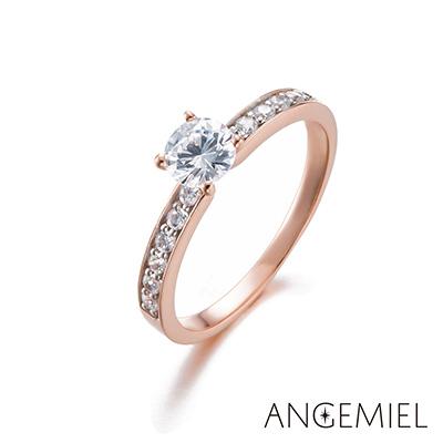 Angemiel安婕米 925純銀戒指 愛永恆(玫瑰金)