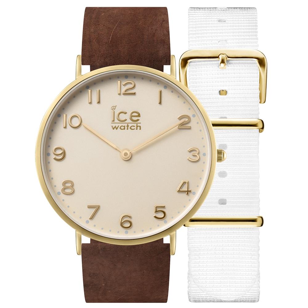 Ice-Watch 城市系列 復刻超薄簡約手錶-象牙白x咖啡色皮帶/41mm