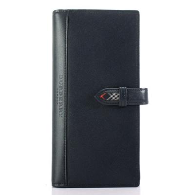 BURBERRY年度限量素面皮革長型穿扣手帳冊-深藍色