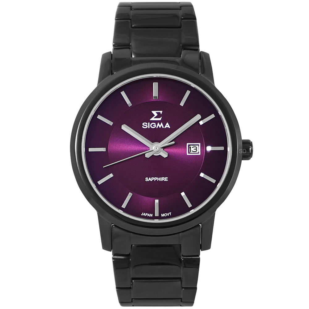 SIGMA 簡約藍寶石鏡面時尚男手錶-紫X黑/39mm