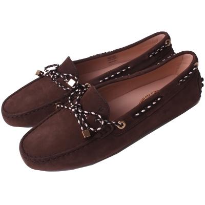 TOD'S Gommino 撞色編織綁帶豆豆休閒鞋(深咖啡色)