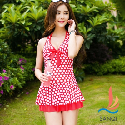 SANQI三奇 夏日復古 一件式圓點連身泳裝(橘L.XL)
