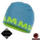 【MAMMUT 長毛象】大Logo 羊毛雙層針織保暖帽(可雙面載)_雲朵藍/萌芽綠