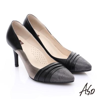 A.S.O 輕透美型 全真皮三色拼接高跟鞋 黑