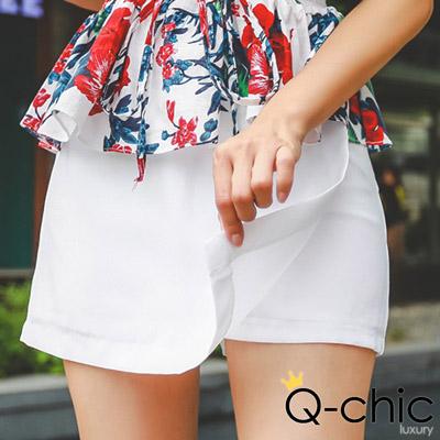 正韓-設計感裙片修身短褲裙-共五色-Q-chic