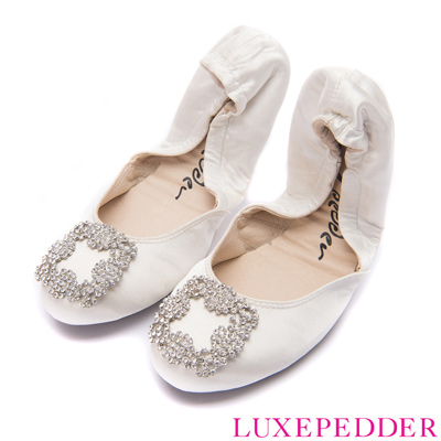 Luxepedder摺疊娃娃鞋-MIT名媛鑽釦真絲