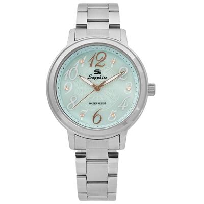 Sapphire  精彩時刻珍珠母貝藍寶石水晶不鏽鋼手錶-淺湖水綠色/31mm