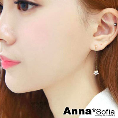 AnnaSofia-單垂花瓣-925銀針耳針耳環-金系