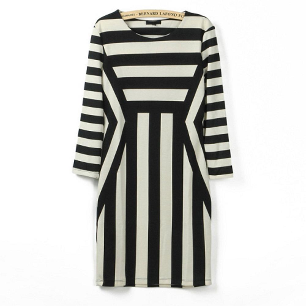 幾何直條紋七分袖洋裝(黑)