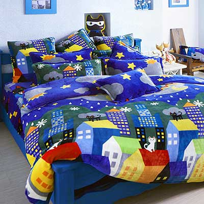 義大利Fancy Belle X Malis 房間裡的遊戲 特大四件式雪芙絨被套床包組