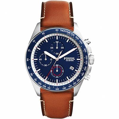 FOSSIL Modern Vintage三眼計時腕錶-藍x咖啡44mm