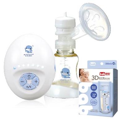 酷咕鴨 六段式實吸感輕巧吸乳器+培寶bab 3D站立型母乳冷凍袋200ml/50入
