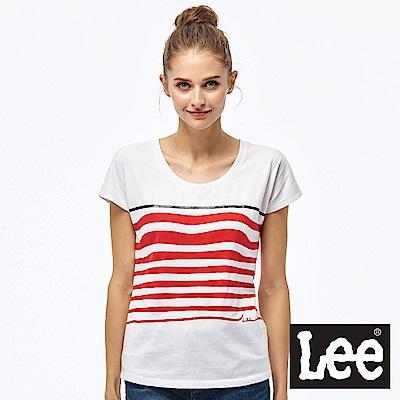 Lee 波浪條紋短袖圓領TEE-女款-紅