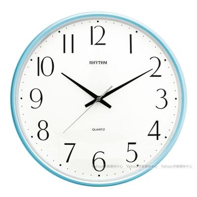 RHYTHM日本麗聲 現代極簡系超靜音掛鐘-海岸藍/32cm