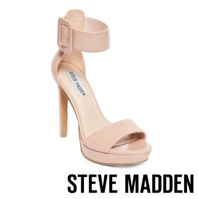 STEVE MADDEN-CIRCUIT 麂皮繞踝高跟涼鞋-鏡裸
