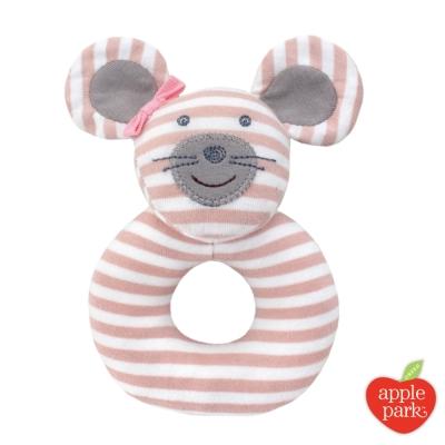 美國品牌 Apple Park 農場好朋友系列 有機棉手搖鈴啃咬玩具 - 芭蕾鼠娘
