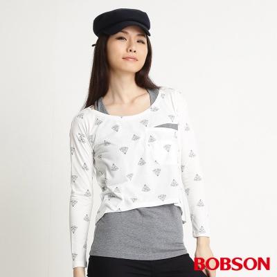 BOBSON 女款兩件式長袖上衣(米白81)
