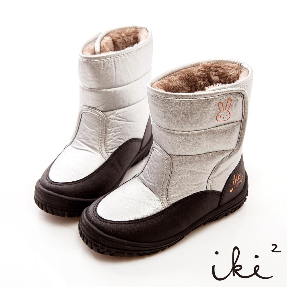 iki2童鞋-咕妮兔進口防水鋪毛跑跳機能靴-雪地銀